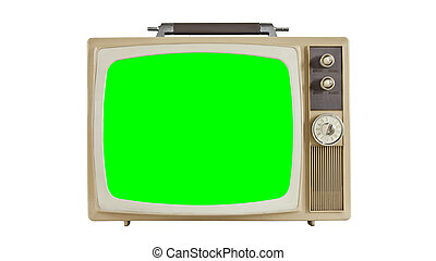 Vintage television on white with chroma key green screen. Sized to 4096 x 2304 4k video dimension.