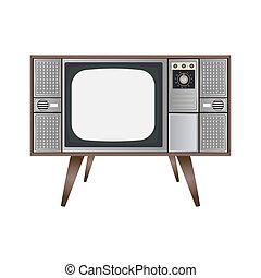 Vintage television with cut out screen on Isolated background..