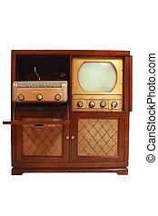 Vintage television with phongragh and radio