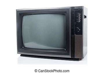 Vintage Television with shadow on white