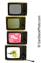 Vintage televisions stack