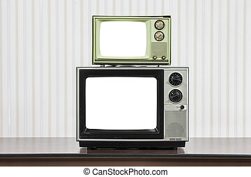 Vintage Televisions Stacked on Table with Cut Out Screens
