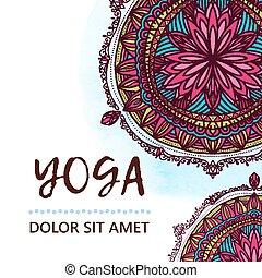 Vintage template design vector illustration of international yoga day. Oriental pattern, vector illustration. Islam, Arabic Indian turkish motifs