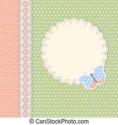 Vintage template with butterfly in polka dot