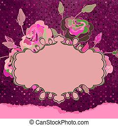 Vintage template with floral frame. EPS 8