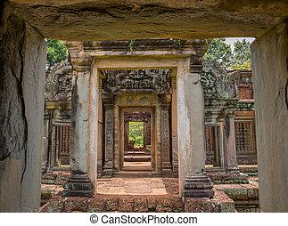 Angkor Wat - Vintage temple entrance and columns in Angkor...