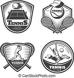 Vintage Tennis Emblems Set