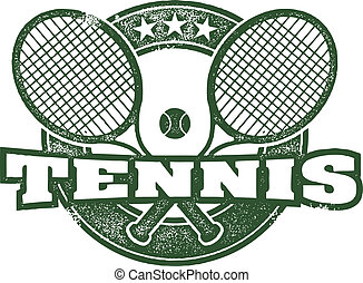 Vintage Tennis Vector Design - Crossed tennis rackets in...