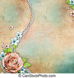 vintage textured background with a bouquet of flowers, lace...