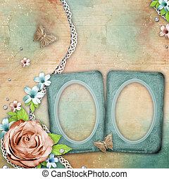 vintage textured background with a bouquet of flowers, lace, frame and pearls