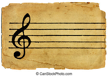 Vintage textured image of G clef and musical staff