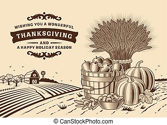 Vintage Thanksgiving Landscape Brown