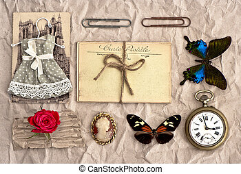 vintage things. nostalgic scrap booking background - old...