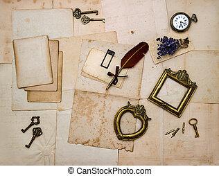 picture frames, keys, flowers, old letters