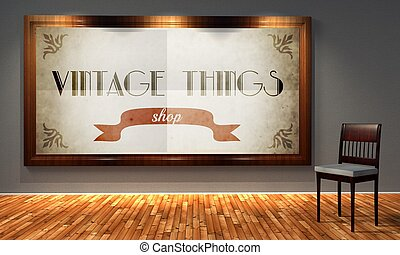 Vintage things shop in old fashioned frame