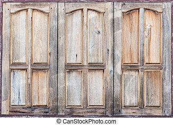 Vintage three windows old brown wooden