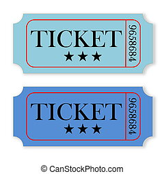 Vintage tickets - Two blue vintage tickets isolated in white...