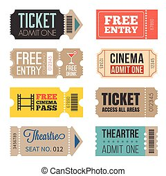 Vintage Tickets in different style, flat design set 2