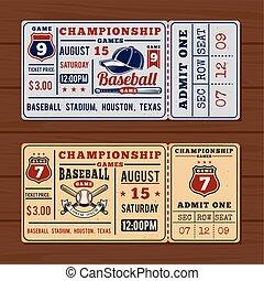 Vintage tickets to the championship baseball and softball