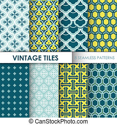 Vintage Tile Backgrounds - 8 seamless patterns for design and scrapbook - in vector