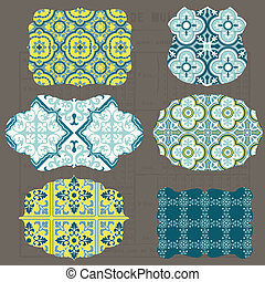Vintage Tiles Design elements for scrapbook - Old tags and frames in vector