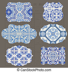 Vintage Tiles Design elements for scrapbook - Old tags and...