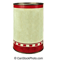 Vintage tin can isolated on white