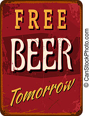 "Vintage Tin Sign - Vintage style tin sign ""Free Beer..."