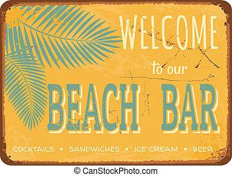 Vintage Tin Sign - Beach bar vintage metal sign.