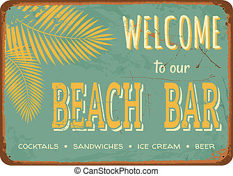 "Vintage Tin Sign - Vintage style tin sign ""Beach Bar""."