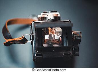 Vintage tlr camera top view