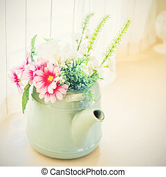 Vintage tone artificial flower on pot -  home interior