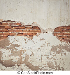 Vintage tone of background texture from brick wall with cracked plaster