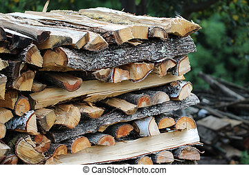 Vintage toned pile of logs
