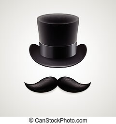 Vintage  top hat, mustaches. Vector illustration EPS 10