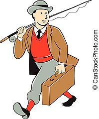 Vintage Tourist Fly Fisherman Luggage Cartoon