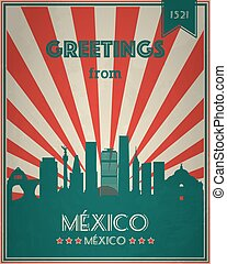 Vintage Touristic Greeting Card - Mexico.