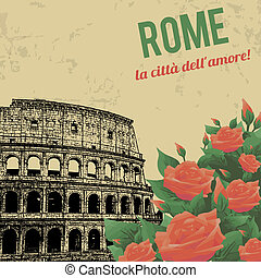 Vintage touristic poster background - Rome the City of Love(...