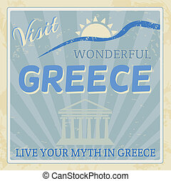 Vintage touristic poster - Greece