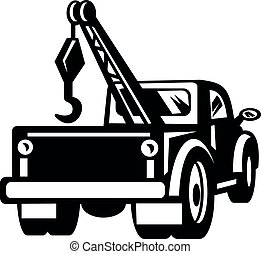 Vintage Tow Truck or Wrecker Pick-up Truck Rear View Retro Black and White