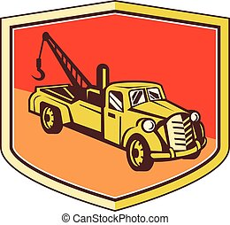Vintage Tow Truck Wrecker Shield Retro