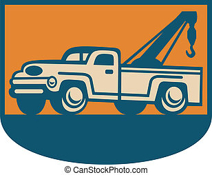 Vintage Tow Wrecker Pick-up Truck - Retro illustration of a...