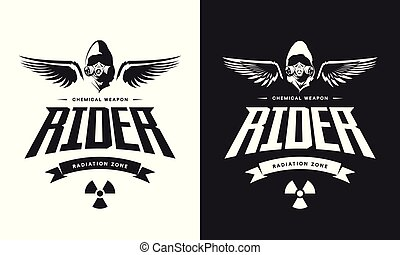 Vintage toxic rider in gas mask black and white isolated vector logo.