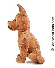 Vintage toy dog - vintage toy dog, stuffed with straw, side...