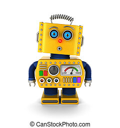Vintage toy robot with surprised facial expression