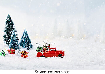 Vintage Toy Truck and Christmas Gifts