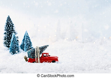 Vintage Toy Truck and Christmas Tree