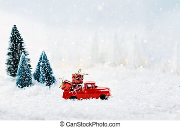 Vintage Toy Truck Loaded with Christmas Gifts