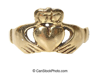 vintage traditional Claddagh ring isolated - vintage...