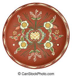 Vintage traditional Norwegian rosepainted platter